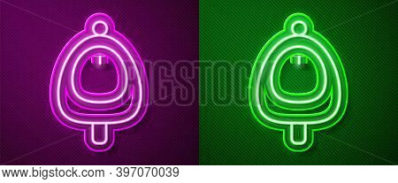 Glowing Neon Line Toilet Urinal Or Pissoir Icon Isolated On Purple And Green Background. Urinal In M