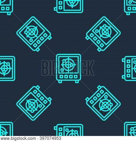 Green Line Radar With Targets On Monitor In Searching Icon Isolated Seamless Pattern On Blue Backgro