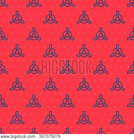 Blue Line Plane Propeller Icon Isolated Seamless Pattern On Red Background. Vintage Aircraft Propell