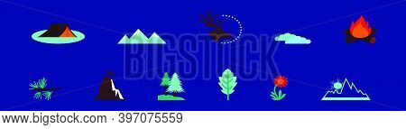 Set Of Mountain Hike Cartoon Icon Design Template With Various Models. Modern Vector Illustration Is
