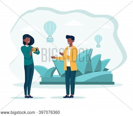 Cute Couple Taking Photo On Vacation. Concept Of Travelling Abroad And Visiting Sightseeings With Gu