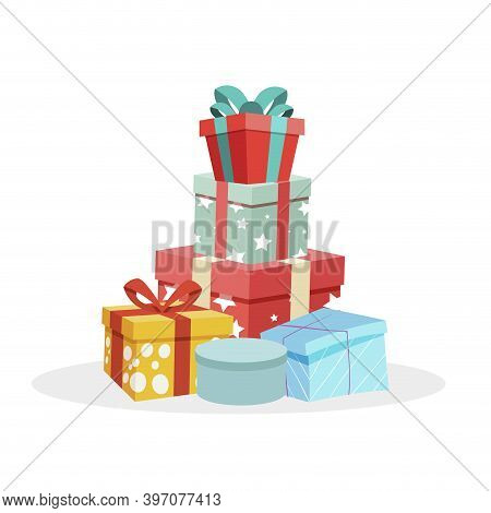 Heap Of Gifts In Festive Packaging. Pile Giftboxes For Xmas Tree. Vector Pile Birthday Box In Colore