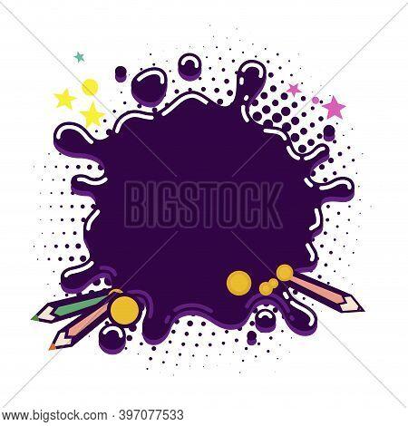 Splash Bubble Ink Template For Kids Card. Empty Drop Stain Macro, Bubble Watercolor Splash, Fluid Ar