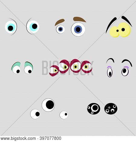 Monsters Eyes Of Set, Cartoon Aliens Sight. Look Expression Mad And Crazy, Eyesight Comic Demon, Fre