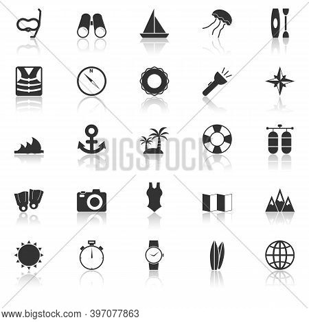 Diving Icons With Reflect On White Background, Stock Vector