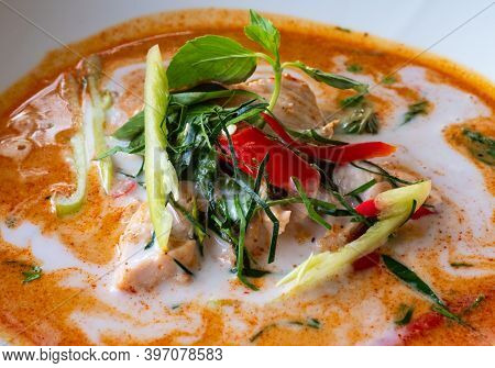 Thai Food, Paneng Gai, Paneng Curry With Chicken Made With Coconut Milk.