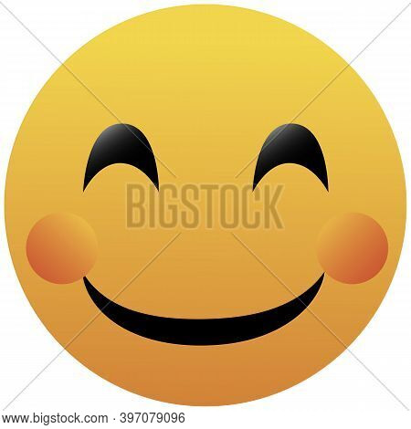 Happy Smiley With Pink Cheeks. Cartoon Isolated Vector Illustration On White Background