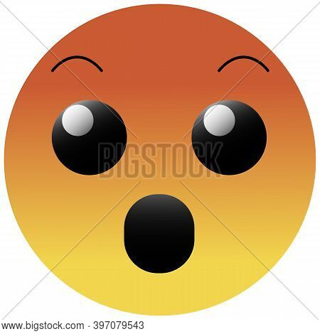 High Quality Emoticon Isolated On White Background. Emoji Face With Open Mouth And Open Eyes. Angry