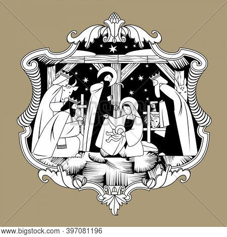 Scene of the Nativity of Christ and Adoration of the Magi in baroque decorative frame. Vintage engraving stylized drawing in black and white colors