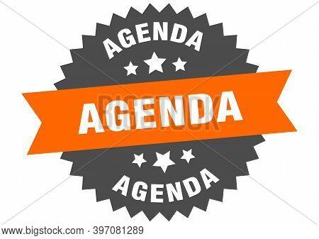 Agenda Sign. Agenda Orange-black Circular Band Label