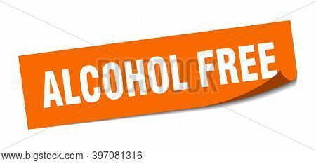 Alcohol Free Sticker. Square Isolated Label Sign. Peeler