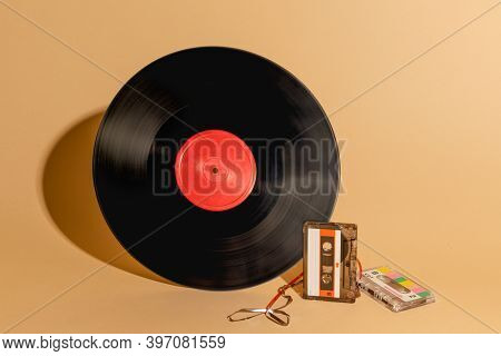Vinyl record and a cassette tape design resource