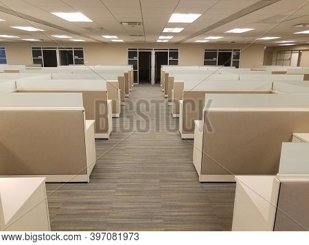 Rows Of Cubicles Inside Of An Office Building, Office Space