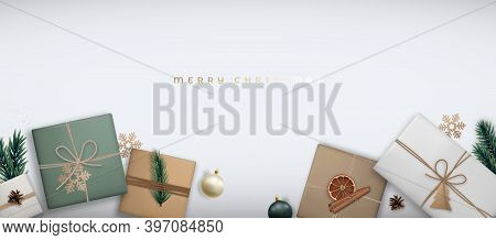 Merry Christmas Horizontal Banner With Gift Boxes. Festive Christmas Background With Decorative Flat