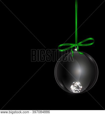 Black Green Christmas Ball With Crystal And Red Tape