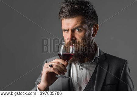 Wine Degustation. Bearded Man With Glass Of Wine. Tasting Alcohol.. Bearded Man With Alcohol. Man In