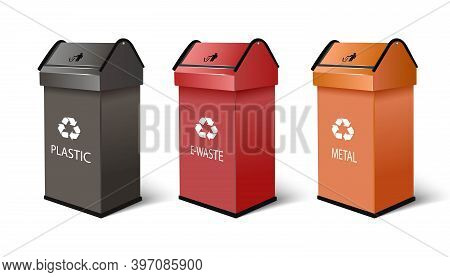 3d Realistic Vector Recycling Bins For Plastic, E-waste And Metal Products, With Recycling Symbol On