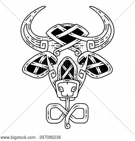 Celtic Style Bull Head. The Symbol Of The New Year.