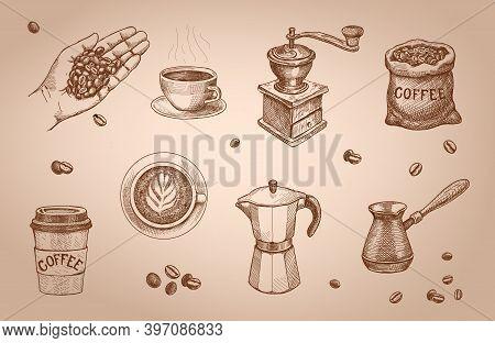 Retro Sketch Coffee Set. Coffee Mill, Sack, Engraved Vintage Espresso Cap, Coffee Mug. Coffee Shop L