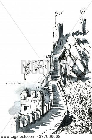 Anscient Fortress Outer Walls Ink Illustration Hand Drawn
