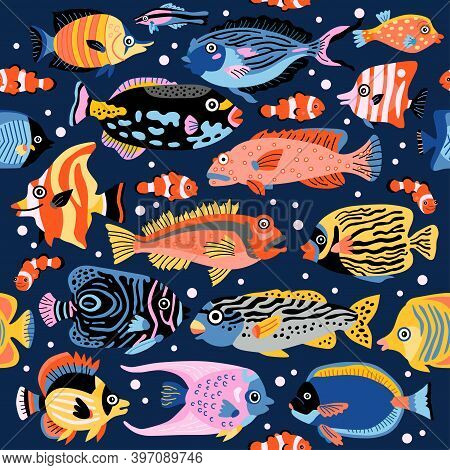 A Coral Fish Seamless Pattern With Exotic Tropical Underwater Animals. Background Of Coral Reef Life