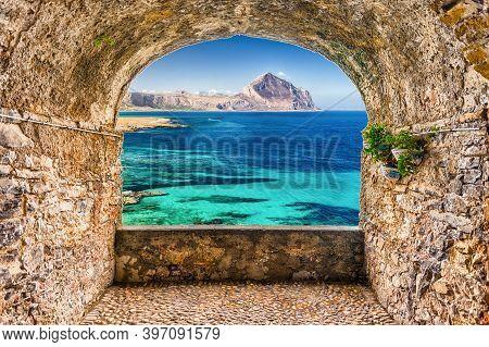 Scenic Rock Arch Balcony Overlooking Sicilian Coastline And Cofano Mountain, San Vito Lo Capo, Italy