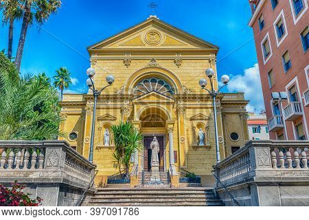 Facade Of The Convent Of Capuchin Friars In Sanremo, Italy. The Building Is One Of The Main Landmark