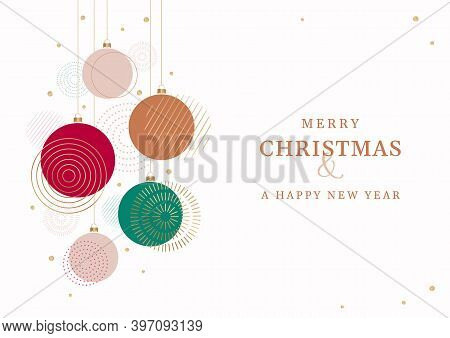 Christmas And New Year Greeting Card. Abstract Vector Illustration Of Christmas Decoration Balls For