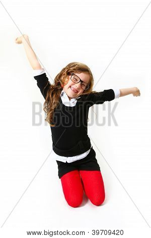 Laughing Business Little Girl Isoalted On White Background