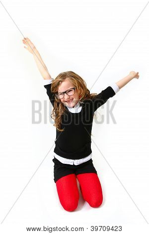 Funny Smiling Girl With Glasses Isolated On White Background