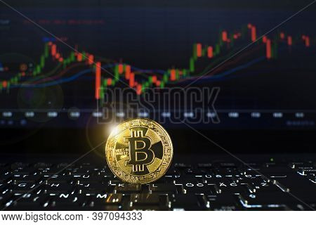 Bitcoin Gold Cryptocurrency On Computer Trading Chart Concept.