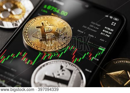 Bitcoin Cryptocurrency Trading On Smartphone Close Up