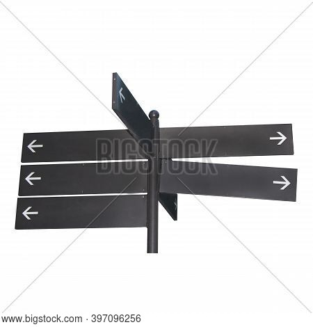 Empty Direction Indicator With Arrows. Empty Blank For Road Signs. Way Marker. Signs Indicating The