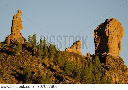 Cliffs Of El Fraile, La Rana And Roque Nublo From Left To Right. The Nublo Natural Monument. Tejeda.