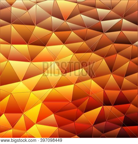 Abstract Vector Stained-glass Triangle Mosaic Background - Yellow And Orange