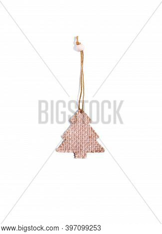 Christmas Toy Of Natural Sustainable Materials Isolated On White. Sackcloth Decoration Shaped As Fir