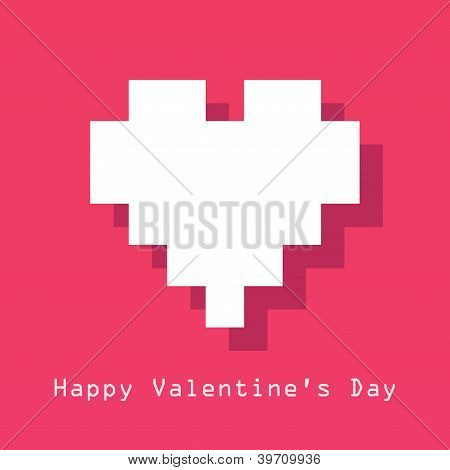 Valentines Day card with pixelated heart