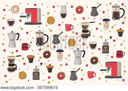 Cute Illustration Of Coffee Drinks With Desserts. Hand-drawn Pattern For Kitchen Or Restaurant Texti