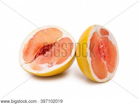 Fruit Pomelo Isolate On A White Background. Two Slices Of Pomelo Close-up.
