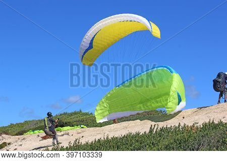 Paragliders Launching Above Victory Walls Beach, Portugal