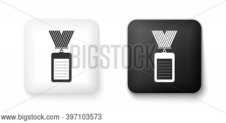Black And White Identification Badge Icon Isolated On White Background. Identification Card. It Can