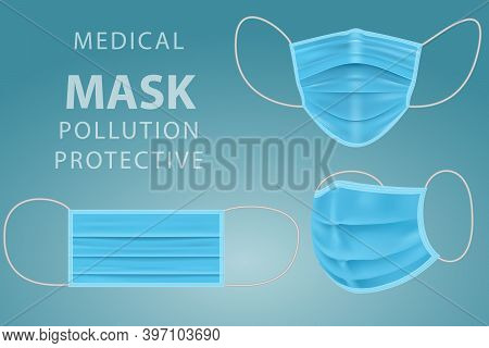 Realistic Medical Face Mask. Doctor Mask Coronavirus Protection. Blue Medical Or Surgical Face Mask.