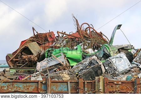 Scrap Metal In A Yard For Recycling