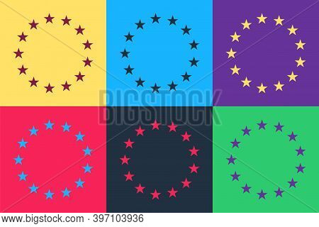 Pop Art Flag Of European Union Icon Isolated On Color Background. Eu Circle Symbol. Waving Eu Flag.
