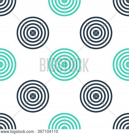 Green Target Sport For Shooting Competition Icon Isolated Seamless Pattern On White Background. Clea