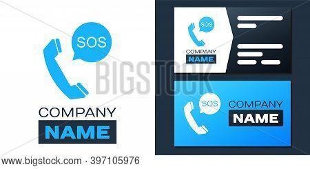 Logotype Sos Call Icon Isolated On White Background. 911, Emergency, Help, Warning, Alarm. Logo Desi
