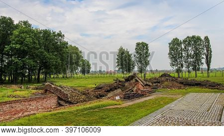 Auschwitz, Poland - July 30th 2018: Remains Of The Gas Chambers At Auschwitz Birkenau Concentration