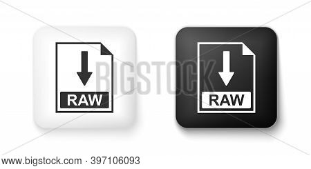 Black And White Raw File Document Icon. Download Raw Button Icon Isolated On White Background. Squar