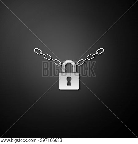 Silver Metal Chain And Lock Icon Isolated On Black Background. Padlock And Steel Chain. Long Shadow