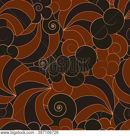 Abstract Japanese Style Seamless Pattern With Swirl And Spiral Traceries Vector Illustration